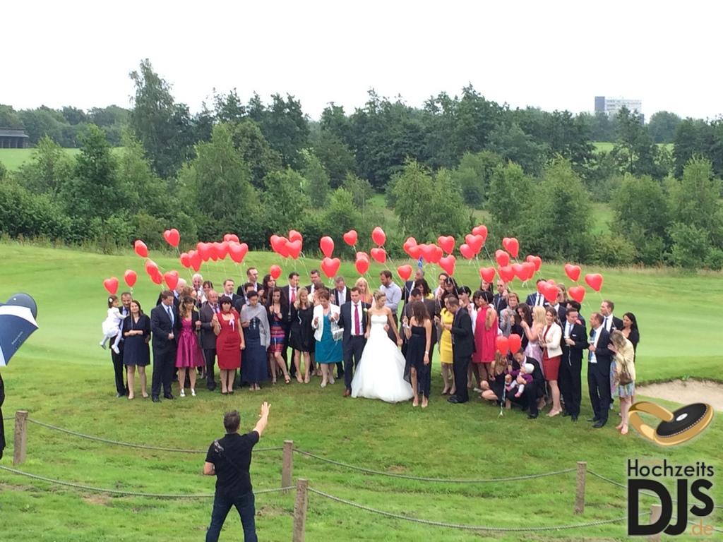 Herzen Ballons Gruppenfoto