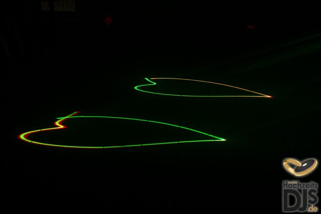 Herzen mit Laser