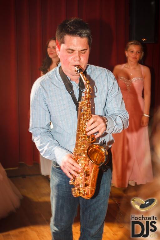 Saxophonist zum Essen