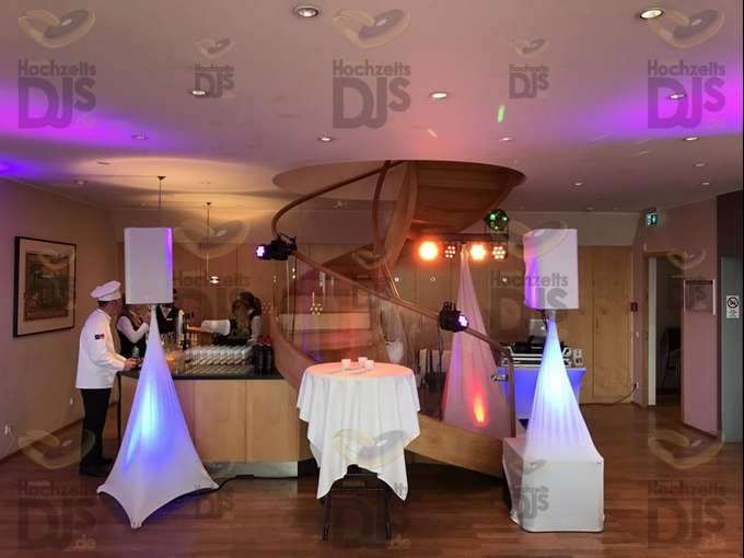 Aufbau DJ-Paket Elegance mit White-Wedding Paket im Schokoladenmuseum Bel Etage Köln